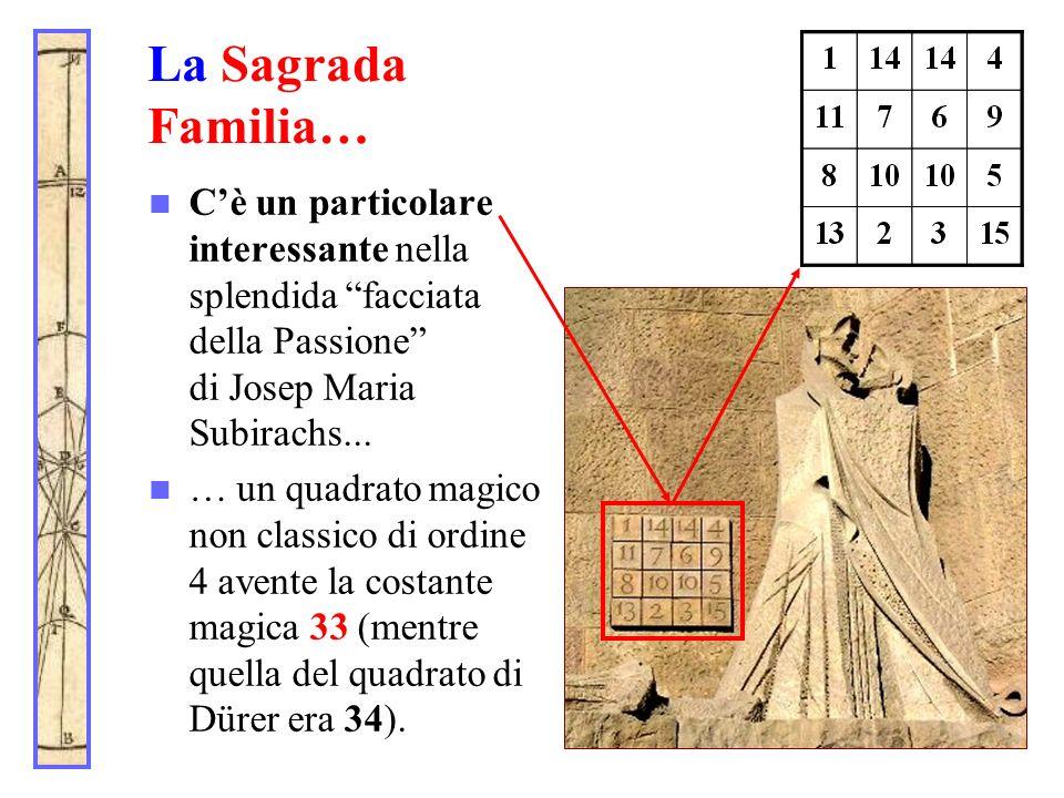 La Sagrada Familia… Cè un particolare interessante nella splendida facciata della Passione di Josep Maria Subirachs... … un quadrato magico non classi