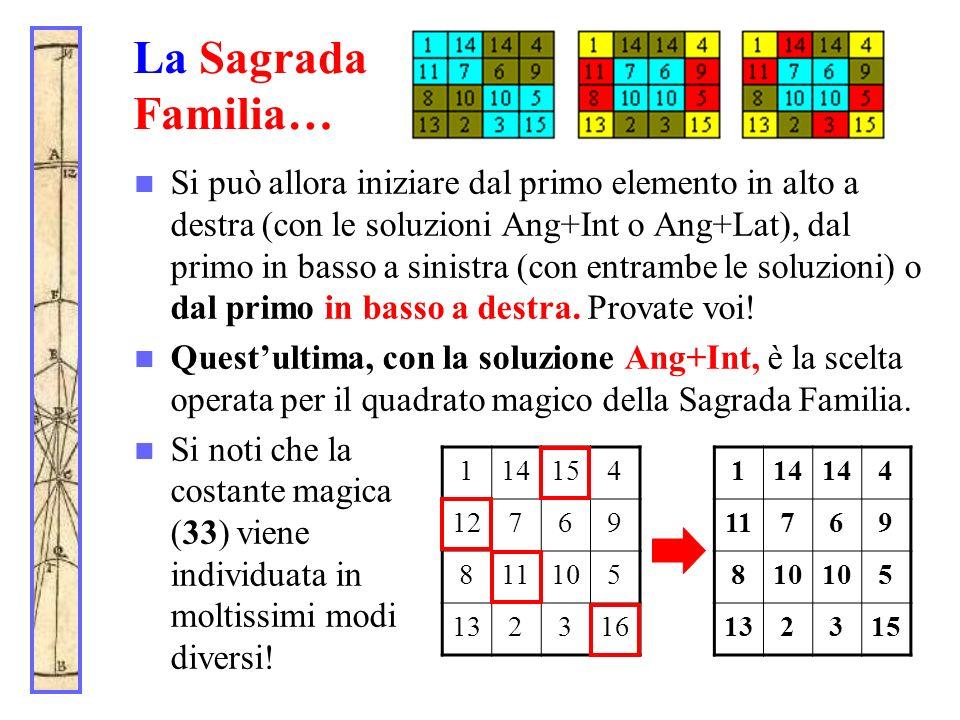 La Sagrada Familia… Si può allora iniziare dal primo elemento in alto a destra (con le soluzioni Ang+Int o Ang+Lat), dal primo in basso a sinistra (co