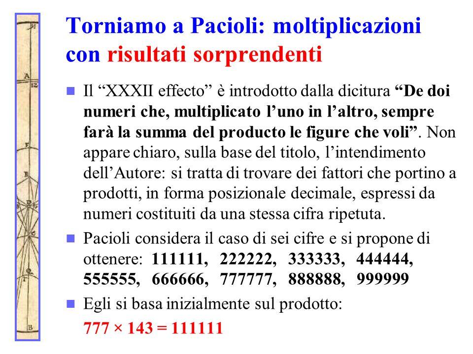 Torniamo a Pacioli: moltiplicazioni con risultati sorprendenti Il XXXII effecto è introdotto dalla dicitura De doi numeri che, multiplicato luno in la