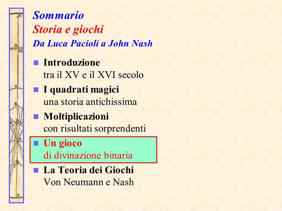 Sommario Storia e giochi Da Luca Pacioli a John Nash Introduzione tra il XV e il XVI secolo I quadrati magici una storia antichissima Moltiplicazioni