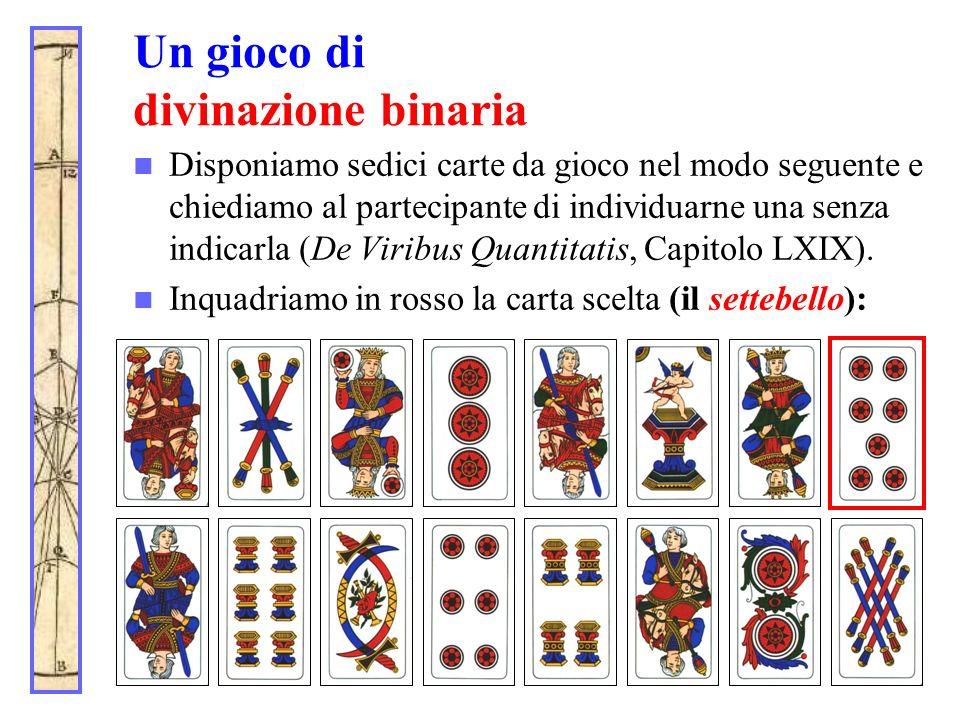 Un gioco di divinazione binaria Disponiamo sedici carte da gioco nel modo seguente e chiediamo al partecipante di individuarne una senza indicarla (De