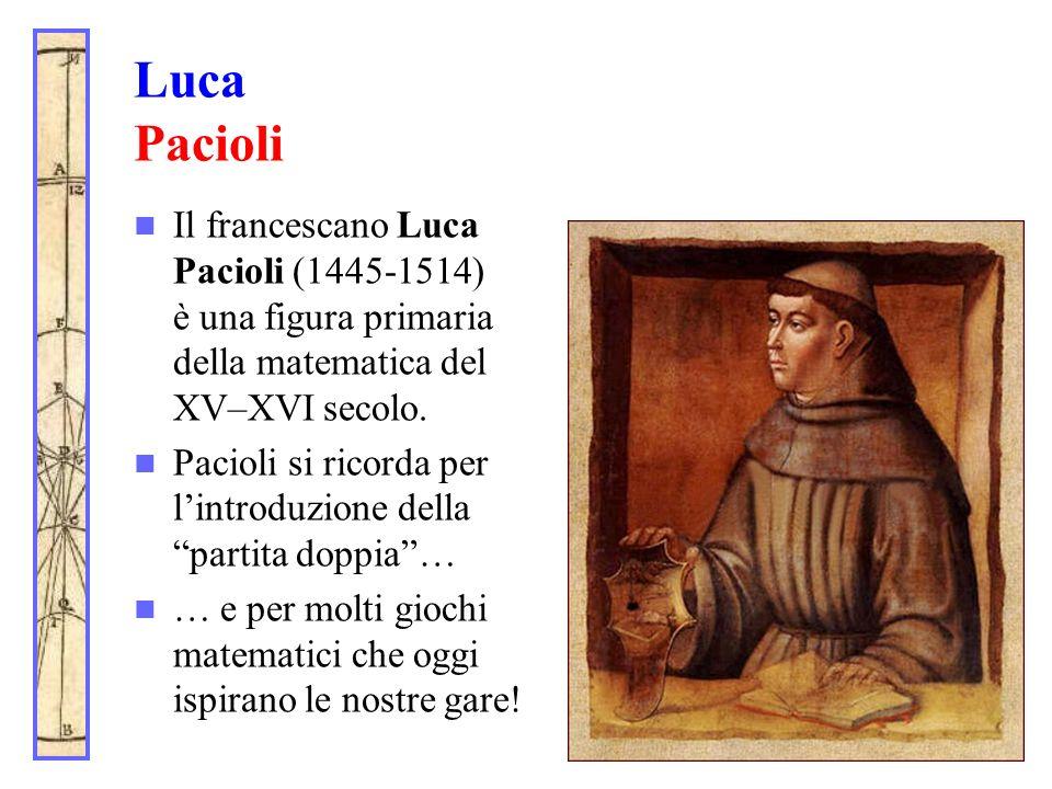 Luca Pacioli Il francescano Luca Pacioli (1445-1514) è una figura primaria della matematica del XV–XVI secolo. Pacioli si ricorda per lintroduzione de