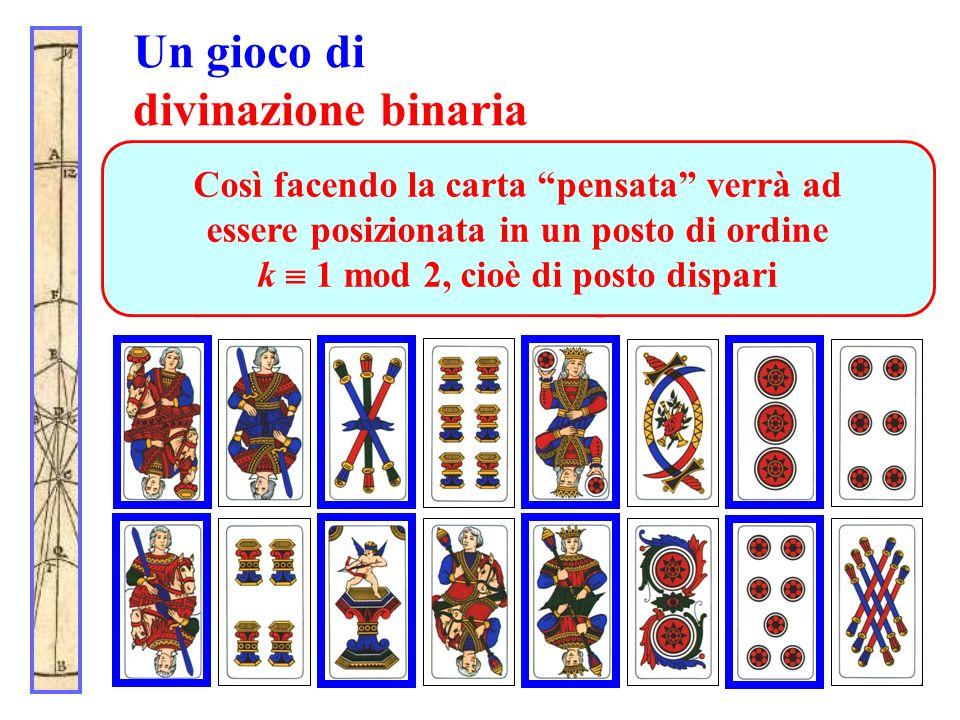 Un gioco di divinazione binaria Alla prima domanda (in che riga sta la carta?) il partecipante indica la prima riga. Dopo lo spostamento (le linee 1,