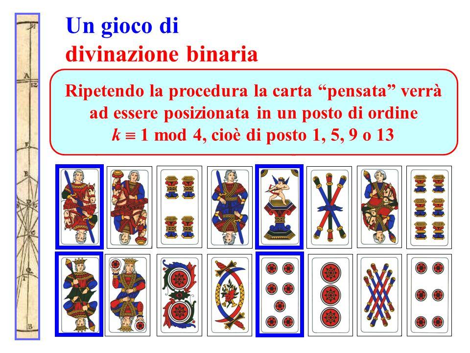 Un gioco di divinazione binaria Alla seconda domanda (in che riga sta la carta?) il partecipante indica la seconda riga. Dopo lo spostamento (le linee