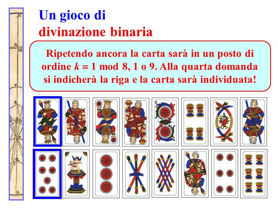 Un gioco di divinazione binaria Alla terza domanda (in che riga sta la carta?) il partecipante indica ancora la seconda riga. Dopo lo spostamento (le