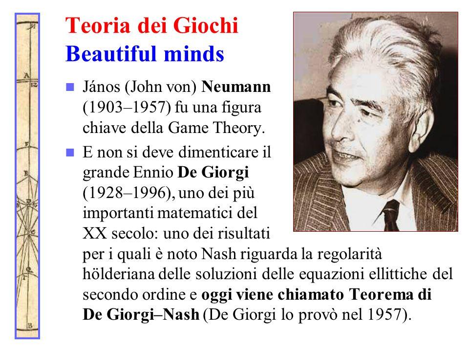 Teoria dei Giochi Beautiful minds János (John von) Neumann (1903–1957) fu una figura chiave della Game Theory. E non si deve dimenticare il grande Enn