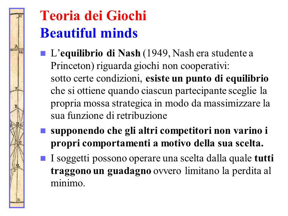 Teoria dei Giochi Beautiful minds Lequilibrio di Nash (1949, Nash era studente a Princeton) riguarda giochi non cooperativi: sotto certe condizioni, e