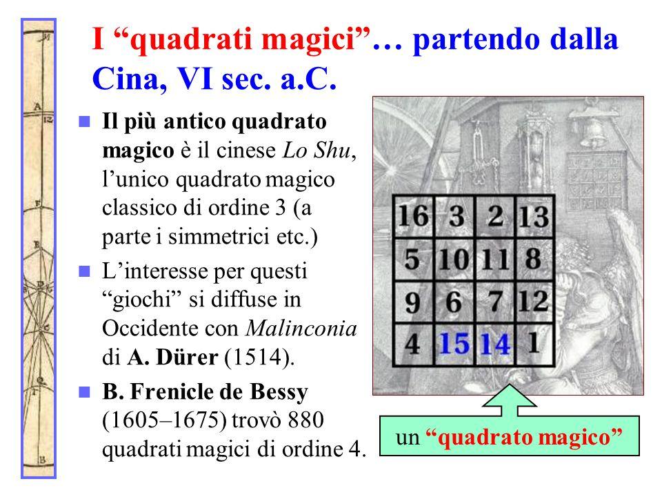 I quadrati magici… partendo dalla Cina, VI sec. a.C. Il più antico quadrato magico è il cinese Lo Shu, lunico quadrato magico classico di ordine 3 (a