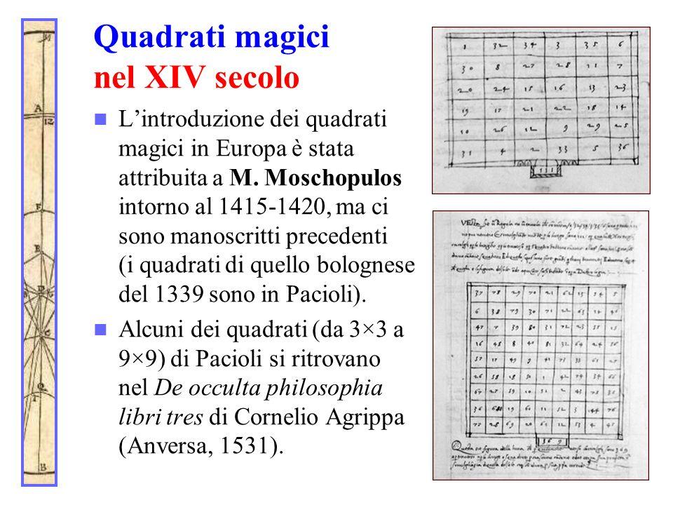 Quadrati magici nel XIV secolo Lintroduzione dei quadrati magici in Europa è stata attribuita a M. Moschopulos intorno al 1415-1420, ma ci sono manosc