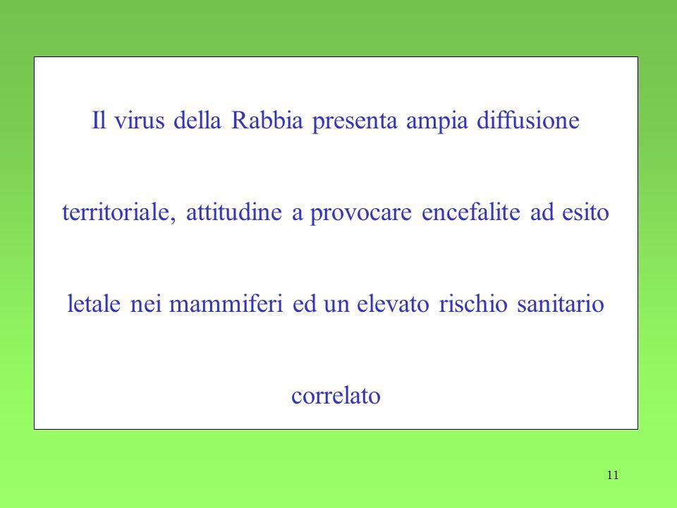 11 Il virus della Rabbia presenta ampia diffusione territoriale, attitudine a provocare encefalite ad esito letale nei mammiferi ed un elevato rischio