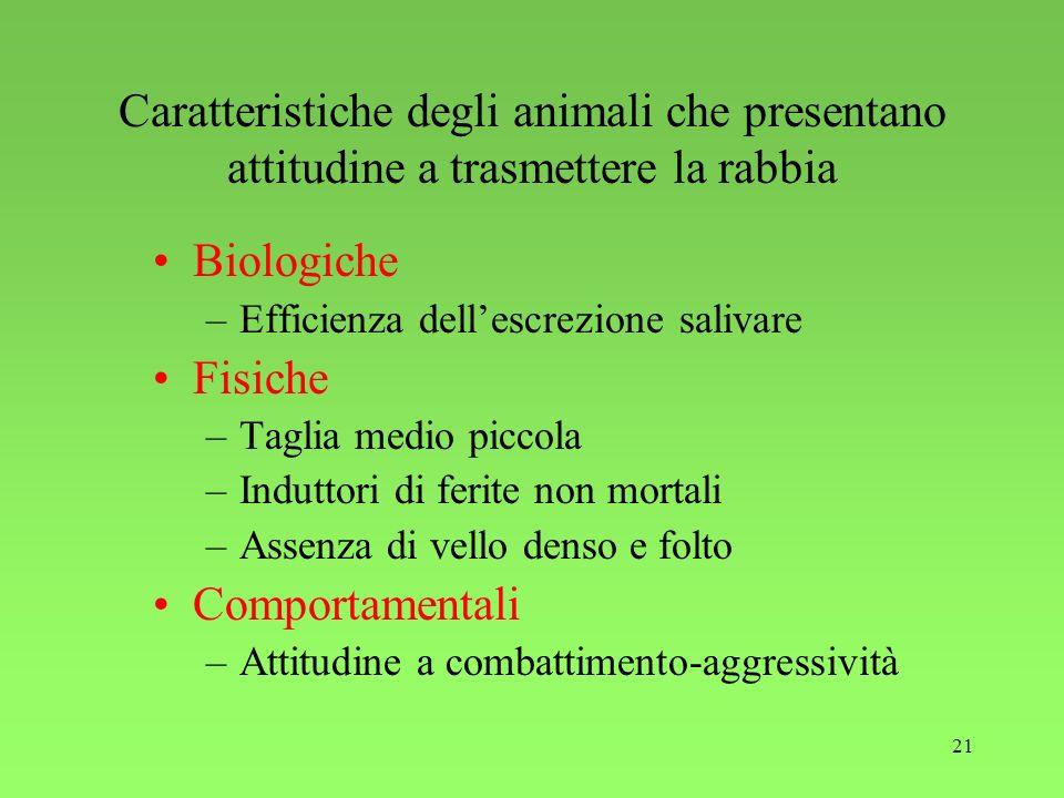 21 Caratteristiche degli animali che presentano attitudine a trasmettere la rabbia Biologiche –Efficienza dellescrezione salivare Fisiche –Taglia medi