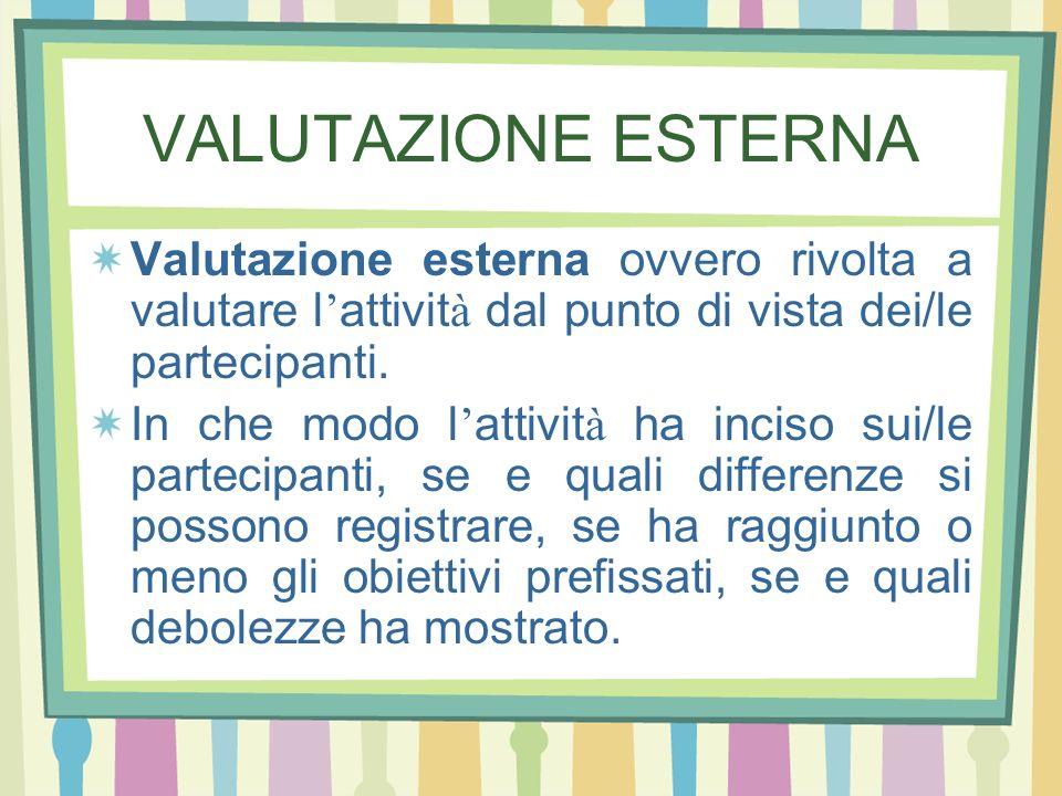 VALUTAZIONE ESTERNA Valutazione esterna ovvero rivolta a valutare l attivit à dal punto di vista dei/le partecipanti. In che modo l attivit à ha incis