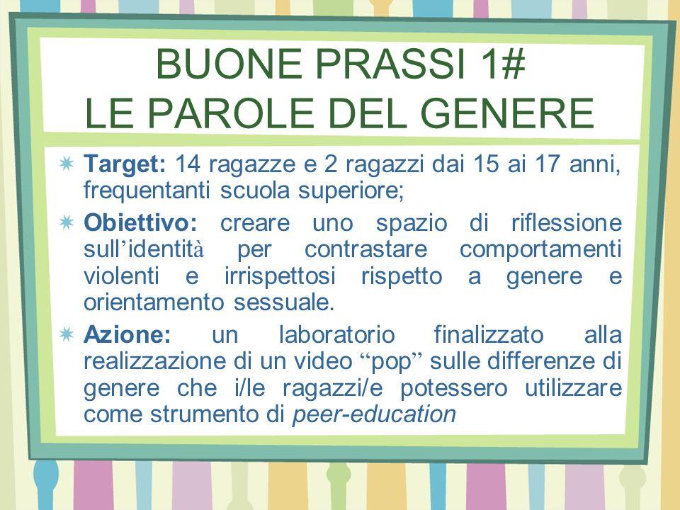 BUONE PRASSI 1# LE PAROLE DEL GENERE Target: 14 ragazze e 2 ragazzi dai 15 ai 17 anni, frequentanti scuola superiore; Obiettivo: creare uno spazio di