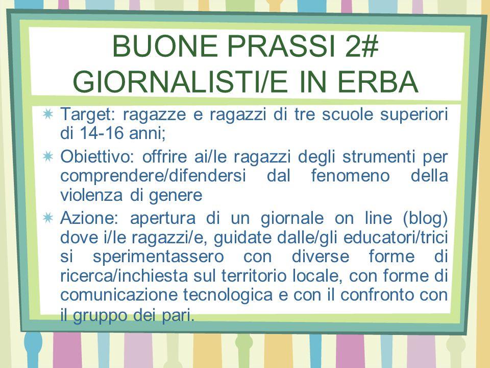 BUONE PRASSI 2# GIORNALISTI/E IN ERBA Target: ragazze e ragazzi di tre scuole superiori di 14-16 anni; Obiettivo: offrire ai/le ragazzi degli strument