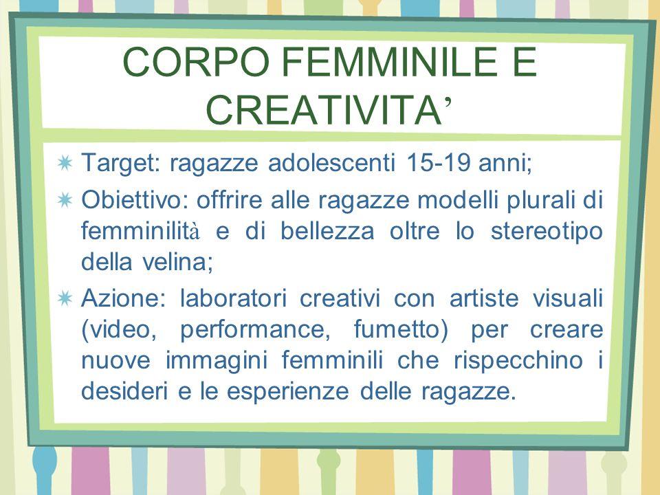 CORPO FEMMINILE E CREATIVITA Target: ragazze adolescenti 15-19 anni; Obiettivo: offrire alle ragazze modelli plurali di femminilit à e di bellezza olt