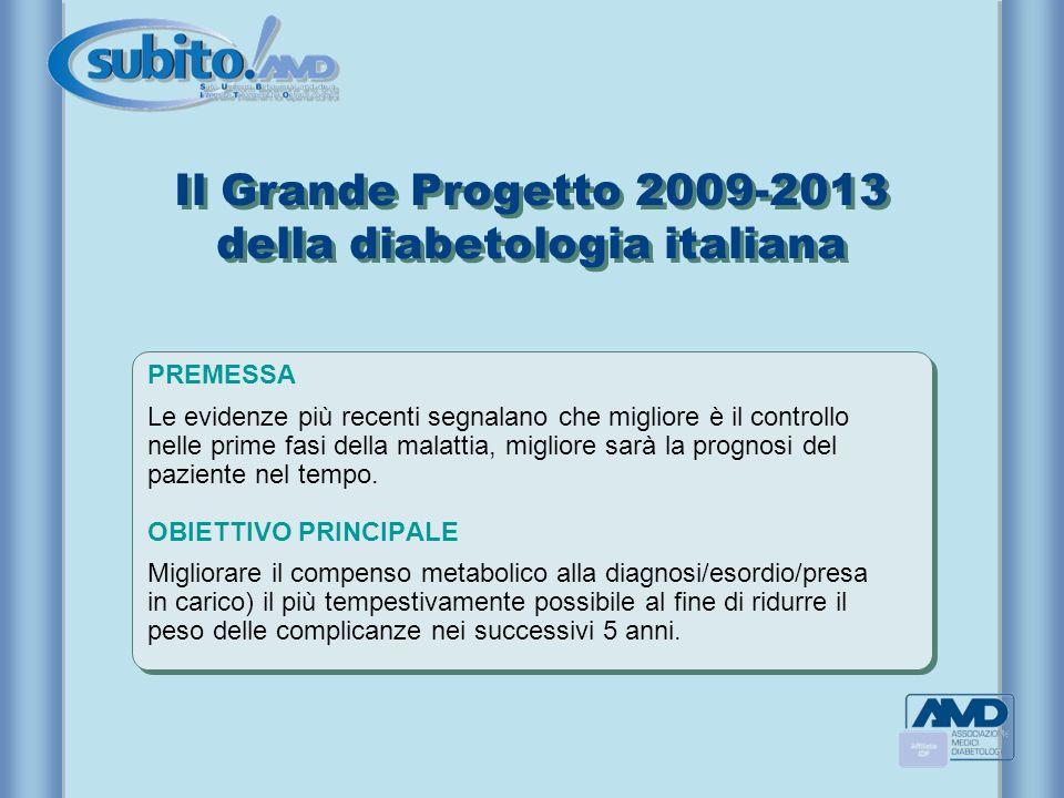 Il Grande Progetto 2009-2013 della diabetologia italiana PREMESSA Le evidenze più recenti segnalano che migliore è il controllo nelle prime fasi della