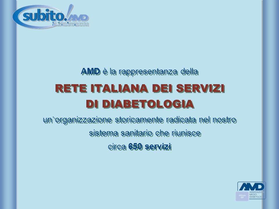 AMD è la rappresentanza della RETE ITALIANA DEI SERVIZI DI DIABETOLOGIA un organizzazione storicamente radicata nel nostro sistema sanitario che riuni