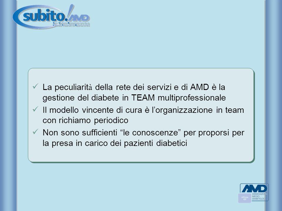 La peculiarit à della rete dei servizi e di AMD è la gestione del diabete in TEAM multiprofessionale Il modello vincente di cura è lorganizzazione in