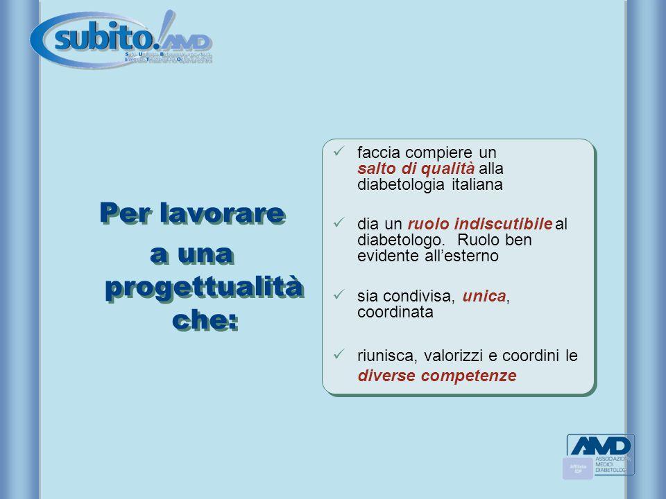 Per lavorare a una progettualità che: Per lavorare a una progettualità che: faccia compiere un salto di qualità alla diabetologia italiana dia un ruol