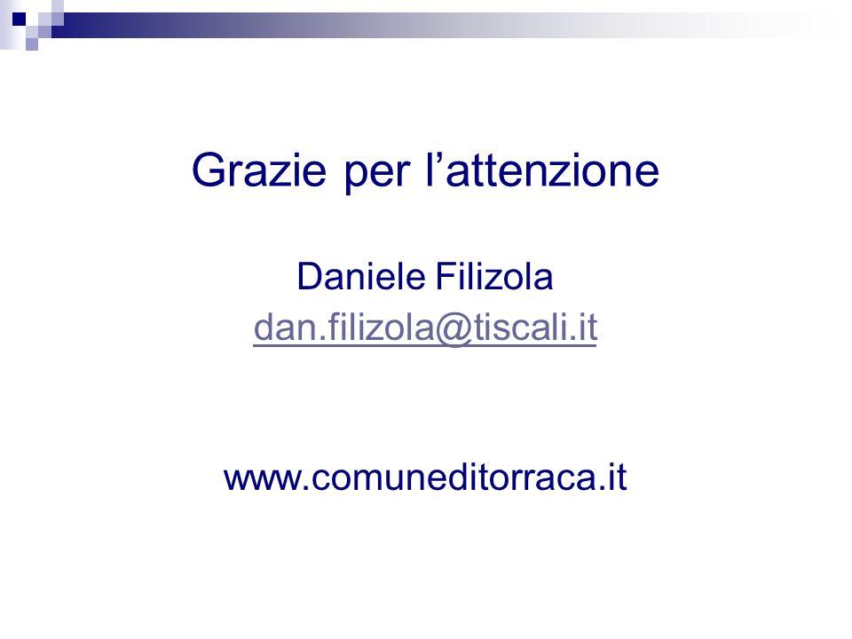 Grazie per lattenzione Daniele Filizola dan.filizola@tiscali.it www.comuneditorraca.it