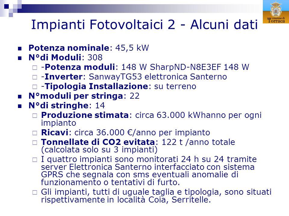 Impianti Fotovoltaici 2 - Alcuni dati Potenza nominale: 45,5 kW N°di Moduli: 308 -Potenza moduli: 148 W SharpND-N8E3EF 148 W -Inverter: SanwayTG53 ele