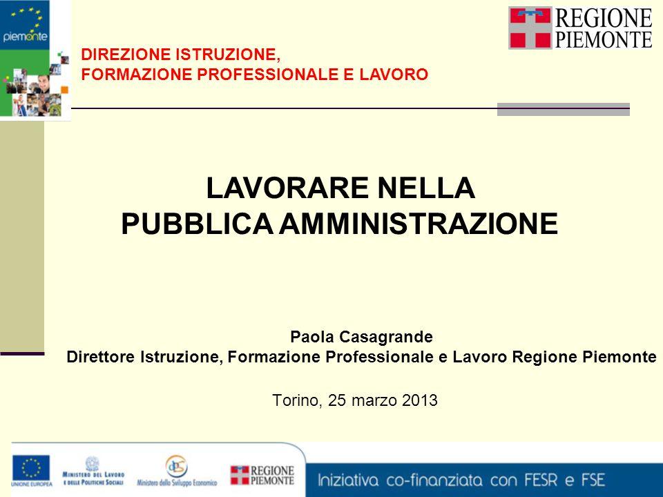 Torino, 25 marzo 2013 DIREZIONE ISTRUZIONE, FORMAZIONE PROFESSIONALE E LAVORO LAVORARE NELLA PUBBLICA AMMINISTRAZIONE Paola Casagrande Direttore Istru