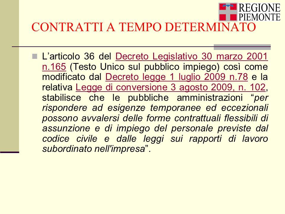 CONTRATTI A TEMPO DETERMINATO Larticolo 36 del Decreto Legislativo 30 marzo 2001 n.165 (Testo Unico sul pubblico impiego) così come modificato dal Dec