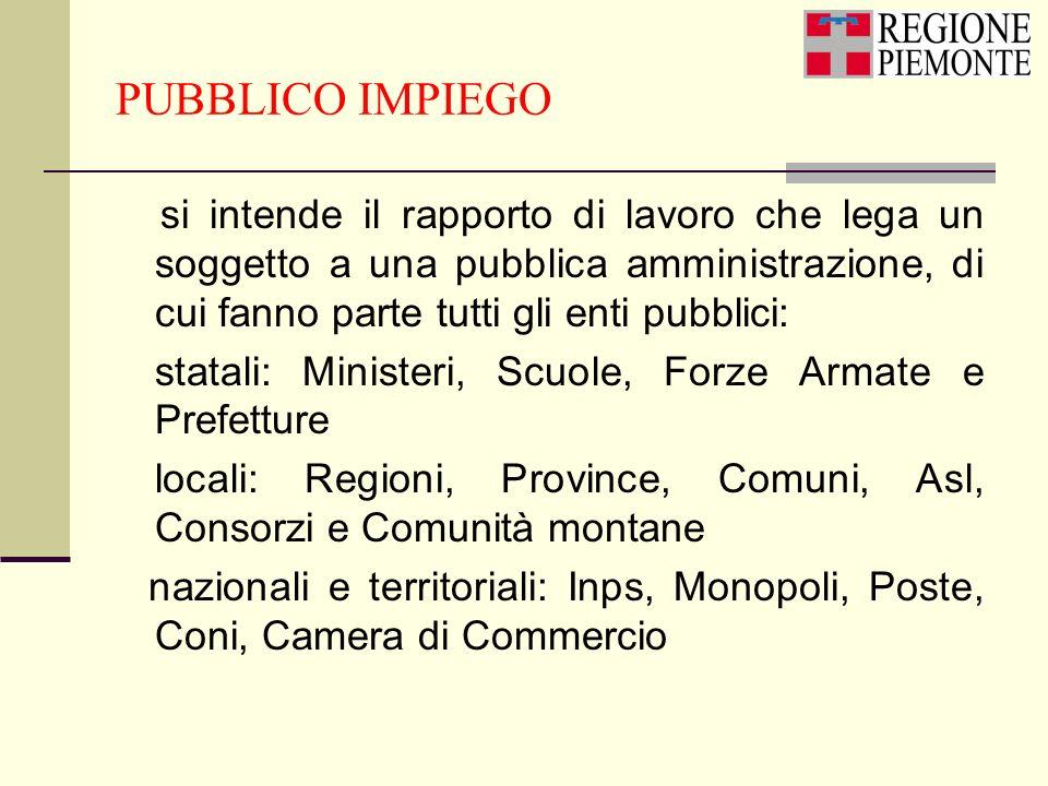 PUBBLICO IMPIEGO si intende il rapporto di lavoro che lega un soggetto a una pubblica amministrazione, di cui fanno parte tutti gli enti pubblici: sta
