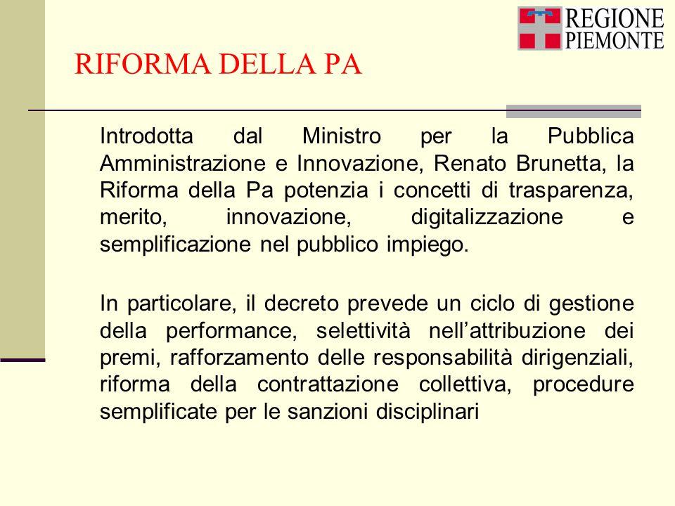 RIFORMA DELLA PA Introdotta dal Ministro per la Pubblica Amministrazione e Innovazione, Renato Brunetta, la Riforma della Pa potenzia i concetti di tr