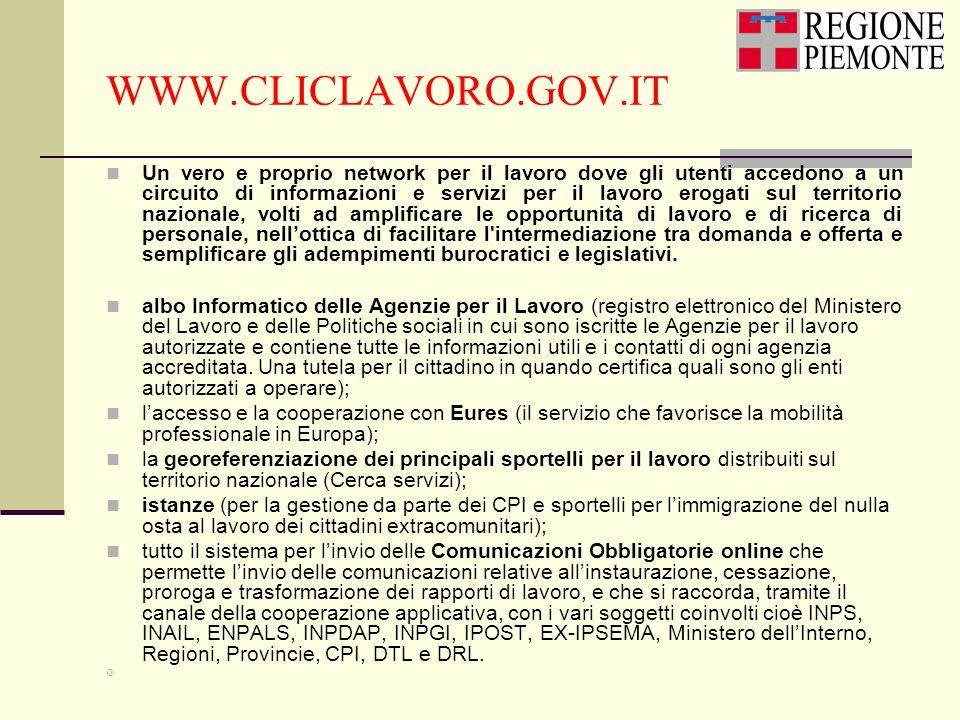 WWW.CLICLAVORO.GOV.IT Un vero e proprio network per il lavoro dove gli utenti accedono a un circuito di informazioni e servizi per il lavoro erogati s
