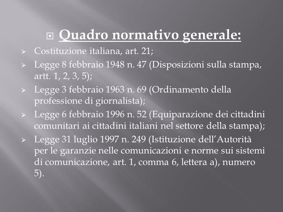 Quadro normativo generale: Costituzione italiana, art. 21; Legge 8 febbraio 1948 n. 47 (Disposizioni sulla stampa, artt. 1, 2, 3, 5); Legge 3 febbraio