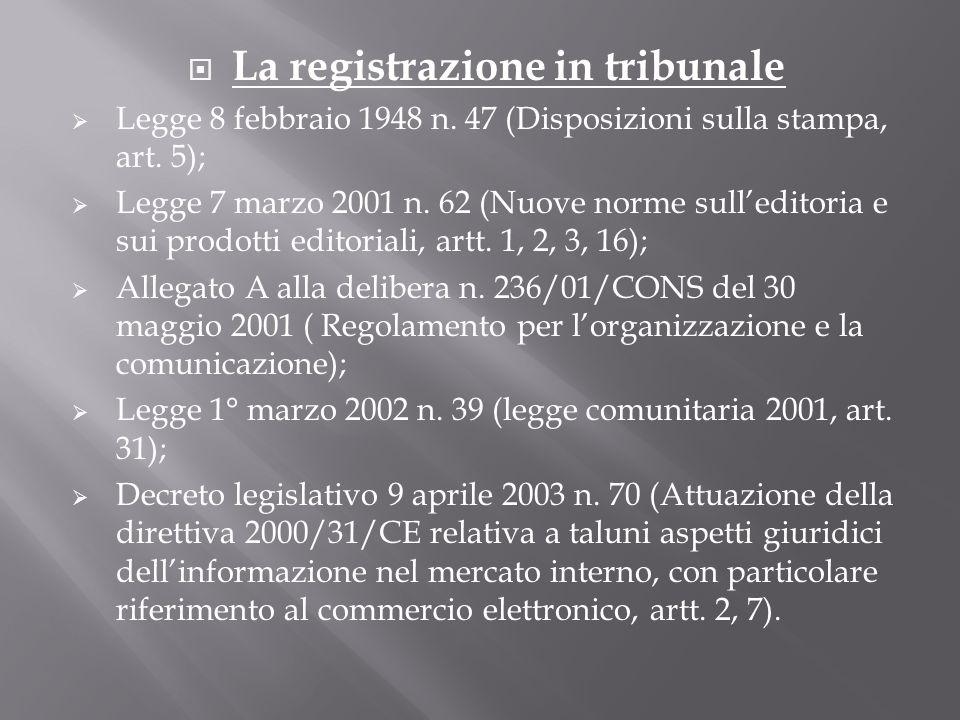 La registrazione in tribunale Legge 8 febbraio 1948 n. 47 (Disposizioni sulla stampa, art. 5); Legge 7 marzo 2001 n. 62 (Nuove norme sulleditoria e su