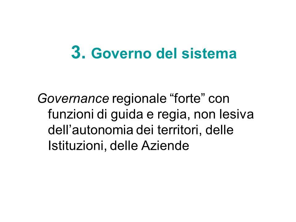 3. Governo del sistema Governance regionale forte con funzioni di guida e regia, non lesiva dellautonomia dei territori, delle Istituzioni, delle Azie