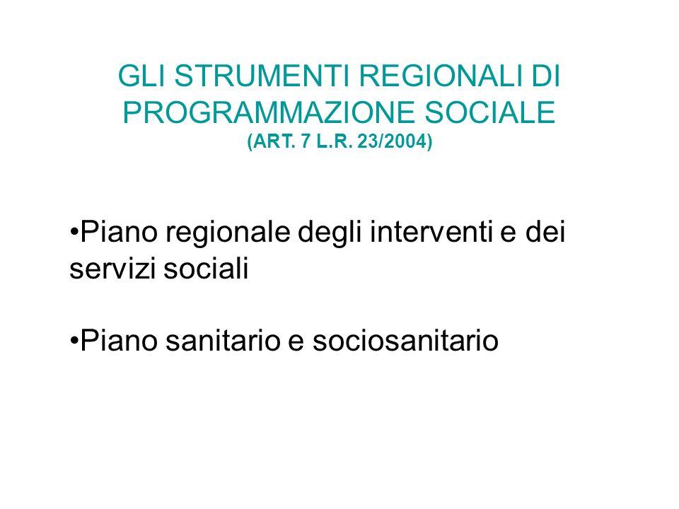 GLI STRUMENTI REGIONALI DI PROGRAMMAZIONE SOCIALE (ART. 7 L.R. 23/2004) Piano regionale degli interventi e dei servizi sociali Piano sanitario e socio