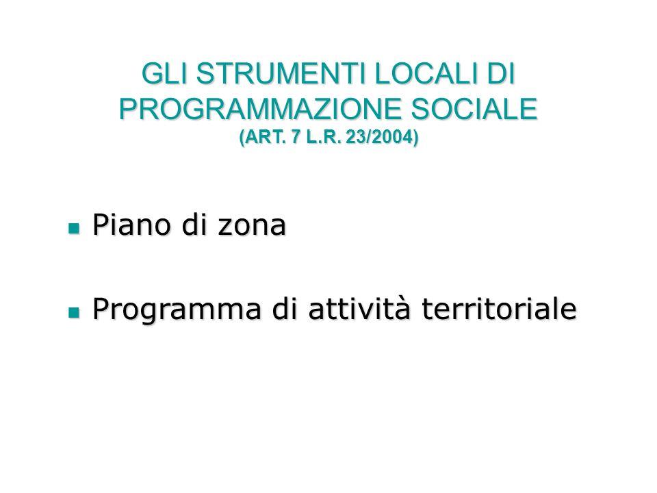 GLI STRUMENTI LOCALI DI PROGRAMMAZIONE SOCIALE (ART. 7 L.R. 23/2004) Piano di zona Piano di zona Programma di attività territoriale Programma di attiv