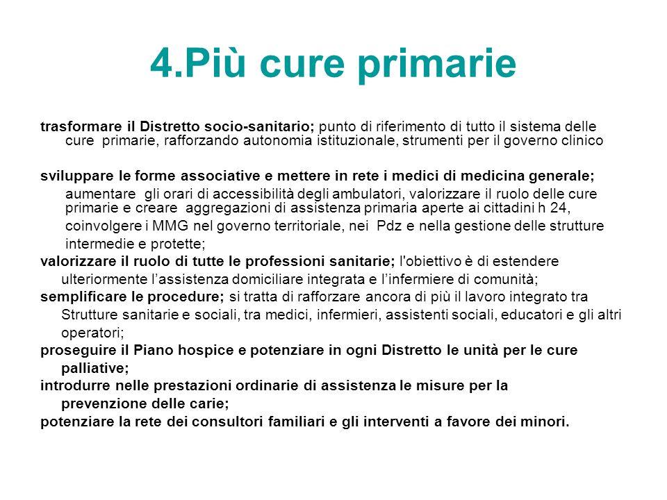 4.Più cure primarie trasformare il Distretto socio-sanitario; punto di riferimento di tutto il sistema delle cure primarie, rafforzando autonomia isti