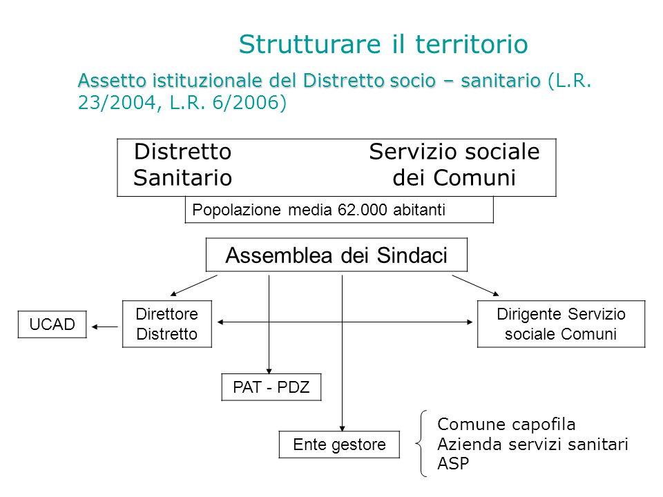 Strutturare il territorio Assetto istituzionale del Distretto socio – sanitario Assetto istituzionale del Distretto socio – sanitario (L.R. 23/2004, L