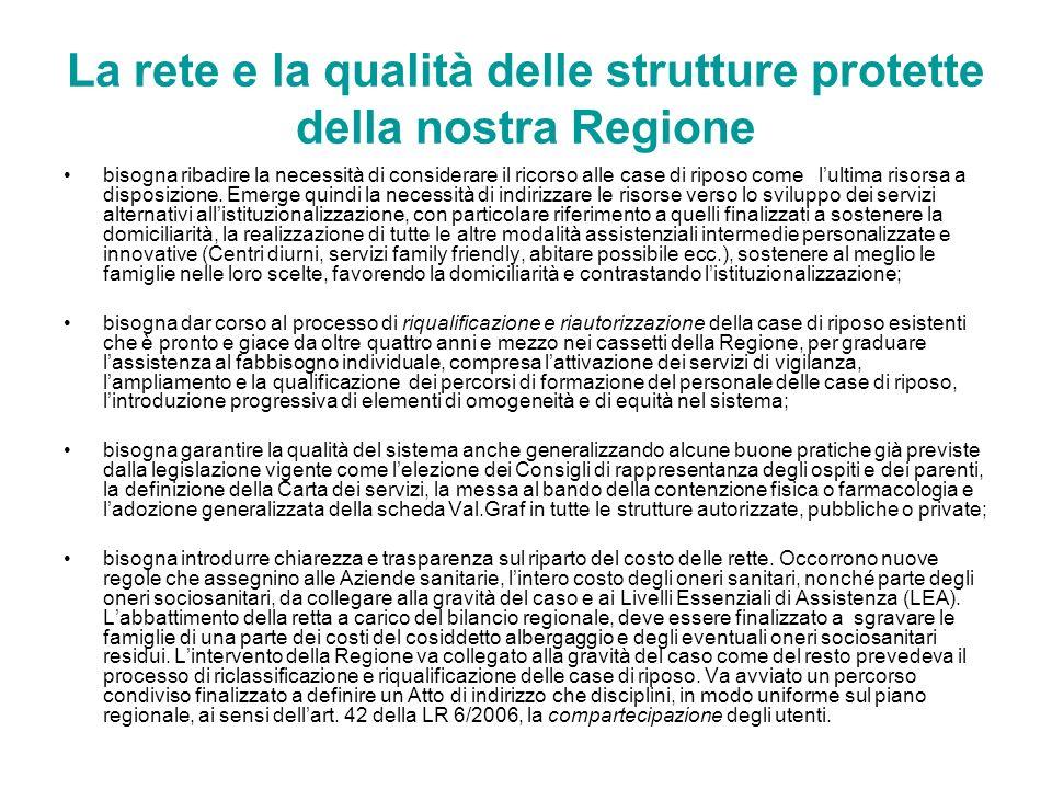 La rete e la qualità delle strutture protette della nostra Regione bisogna ribadire la necessità di considerare il ricorso alle case di riposo come lu