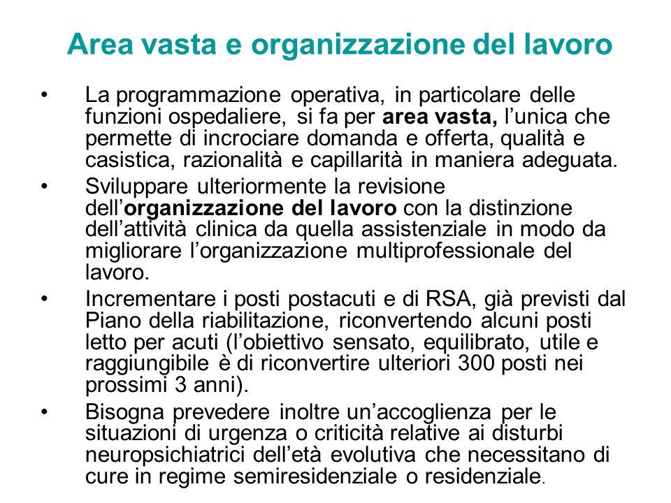Area vasta e organizzazione del lavoro La programmazione operativa, in particolare delle funzioni ospedaliere, si fa per area vasta, lunica che permet