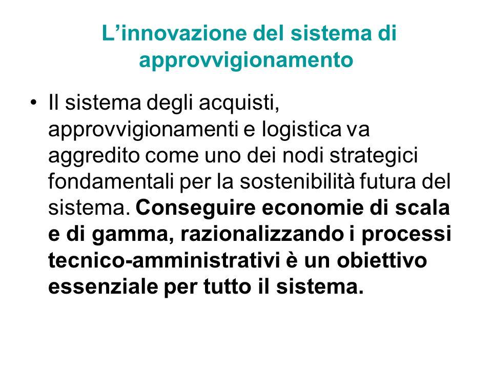 Linnovazione del sistema di approvvigionamento Il sistema degli acquisti, approvvigionamenti e logistica va aggredito come uno dei nodi strategici fon