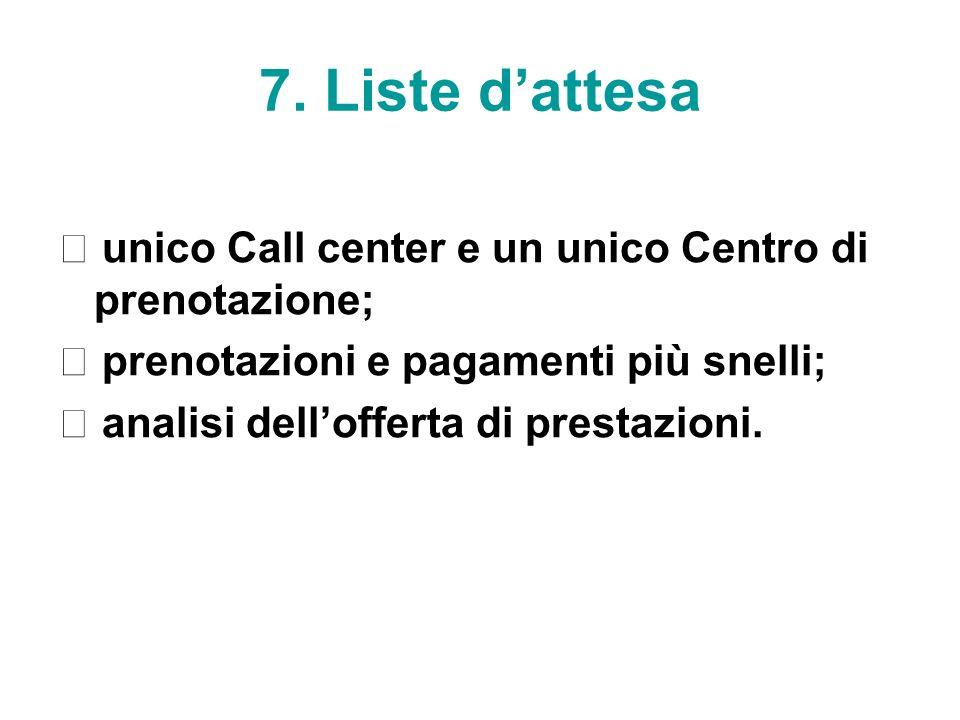 7. Liste dattesa unico Call center e un unico Centro di prenotazione; prenotazioni e pagamenti più snelli; analisi dellofferta di prestazioni.