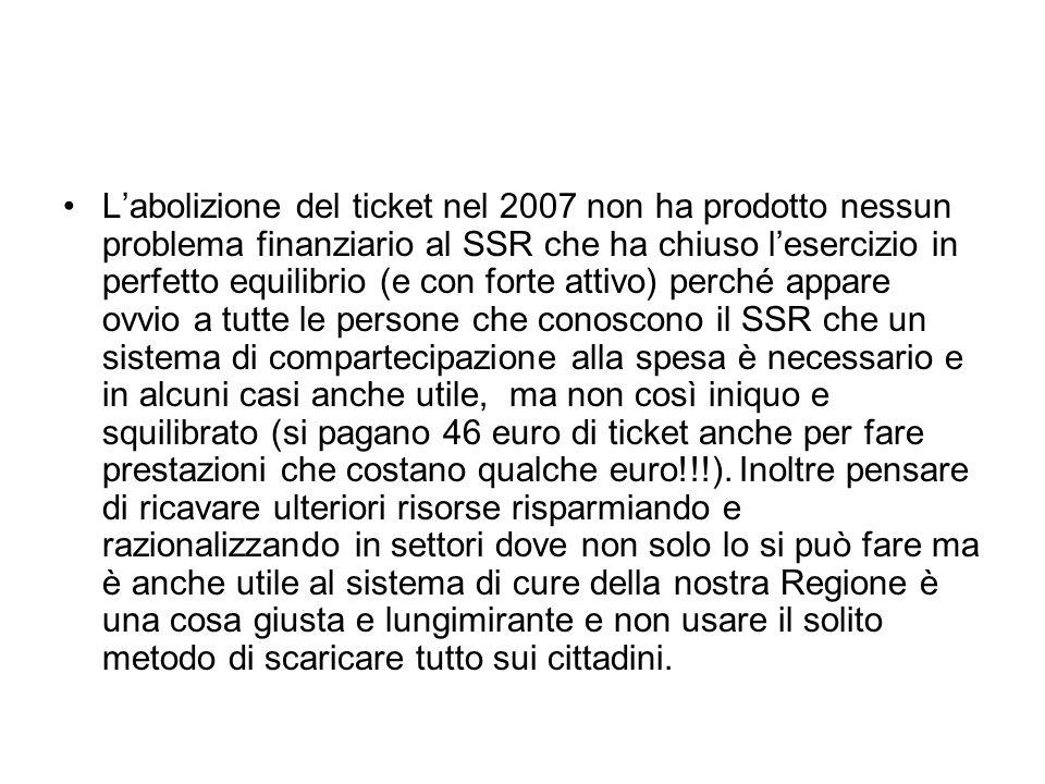 Labolizione del ticket nel 2007 non ha prodotto nessun problema finanziario al SSR che ha chiuso lesercizio in perfetto equilibrio (e con forte attivo