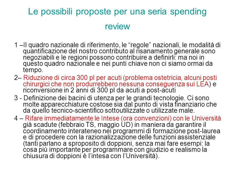 Le possibili proposte per una seria spending review 1 –Il quadro nazionale di riferimento, le regole nazionali, le modalità di quantificazione del nos