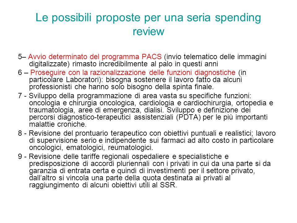 Le possibili proposte per una seria spending review 5– Avvio determinato del programma PACS (invio telematico delle immagini digitalizzate) rimasto in