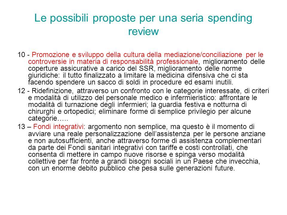 Le possibili proposte per una seria spending review 10 - Promozione e sviluppo della cultura della mediazione/conciliazione per le controversie in mat