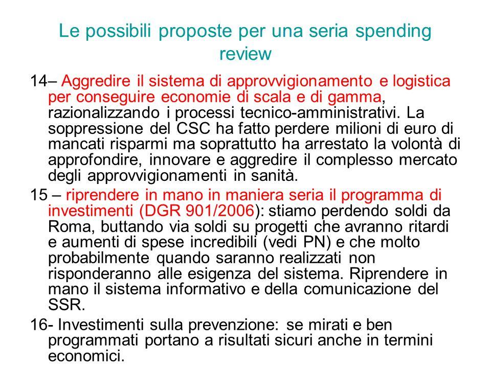 Le possibili proposte per una seria spending review 14– Aggredire il sistema di approvvigionamento e logistica per conseguire economie di scala e di g
