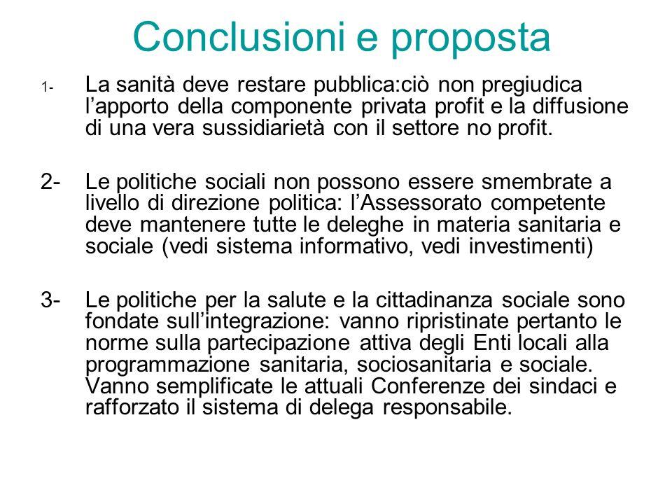 Conclusioni e proposta 1 - La sanità deve restare pubblica:ciò non pregiudica lapporto della componente privata profit e la diffusione di una vera sus