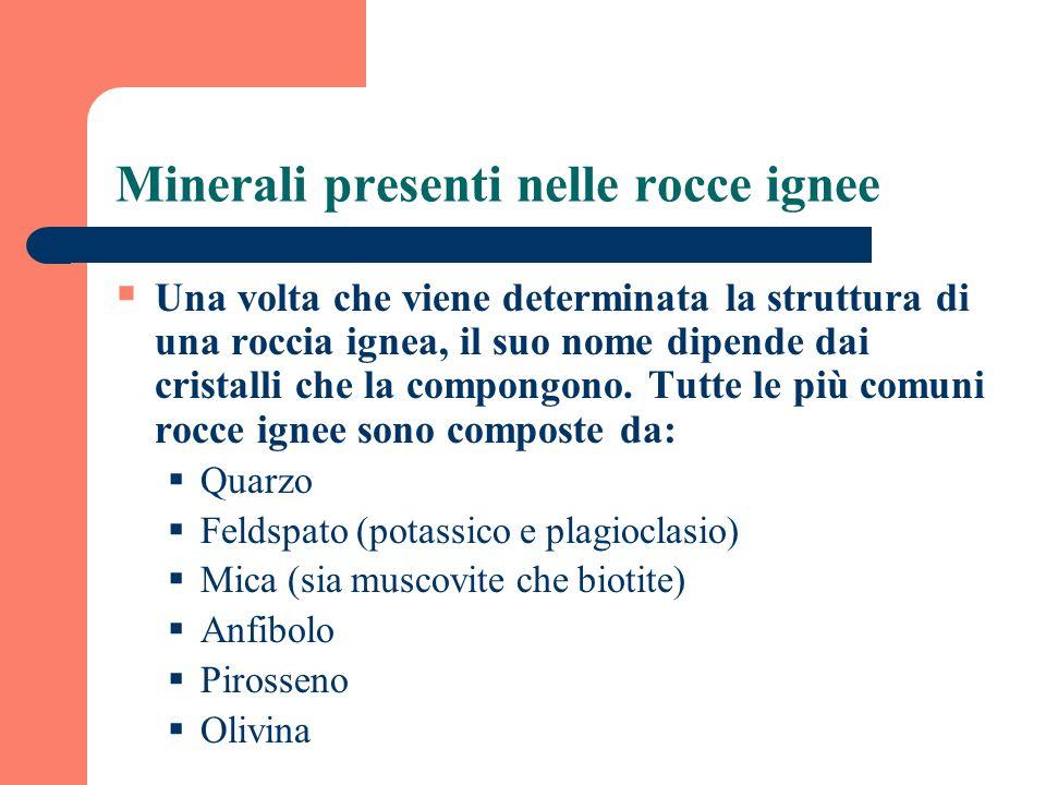 Minerali presenti nelle rocce ignee Una volta che viene determinata la struttura di una roccia ignea, il suo nome dipende dai cristalli che la compong
