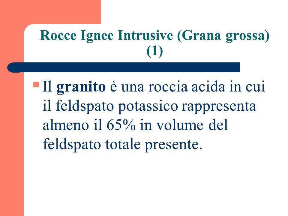 Rocce Ignee Intrusive (Grana grossa) (1) Il granito è una roccia acida in cui il feldspato potassico rappresenta almeno il 65% in volume del feldspato