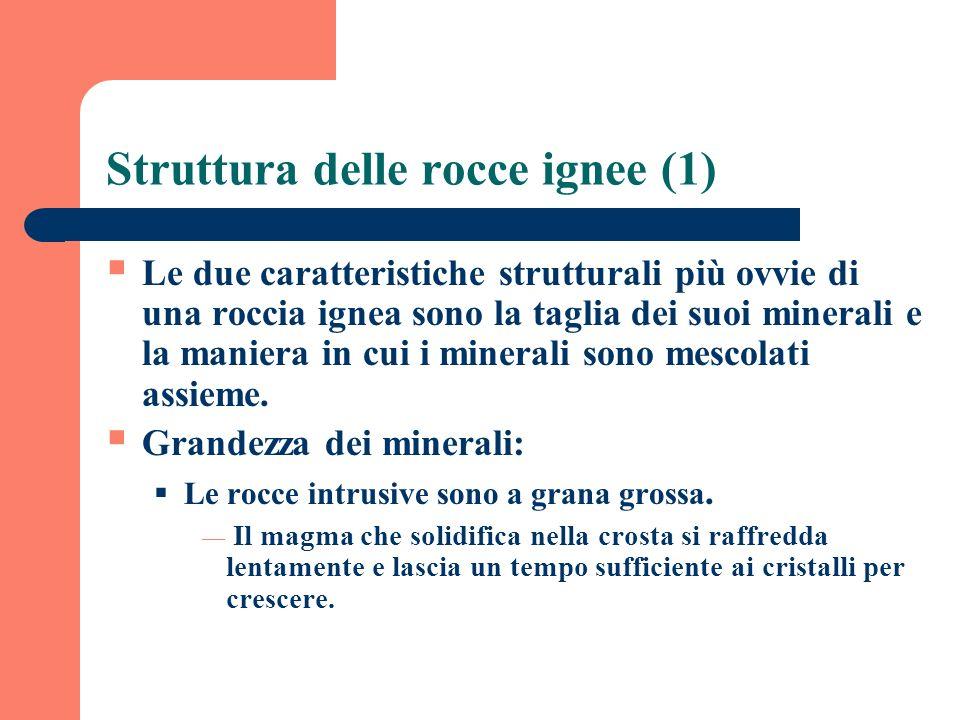 Struttura delle rocce ignee (1) Le due caratteristiche strutturali più ovvie di una roccia ignea sono la taglia dei suoi minerali e la maniera in cui